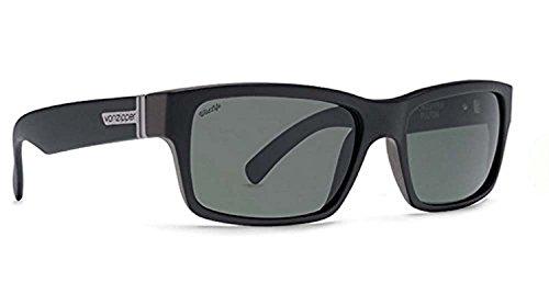 Von Zipper Fulton Sunglasses Black Satin/Wild Vintage Grey Polarized & Carekit