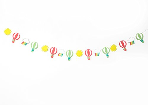 Up Up And Away Baby Shower (Up Up and Away- Garland | Birthday, Baby Shower, Decorations | Nursery, Girls, Boys Room Wall Decor | Hot Air Balloon Theme | Sun, Clouds | Party Bunting | Rainbow)