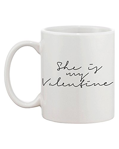 My Valentine Calligraphy Style Matching Coffee Mugs - Perfect Wedding, Engagement, Anniversary, and Valentines Day Gift for Couples