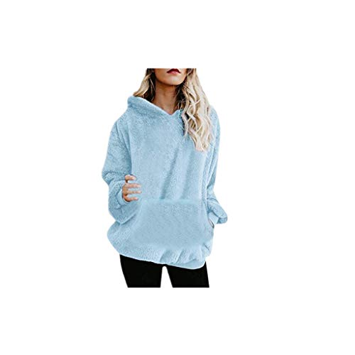 Con A Maglione In Lunghe Velluto Cappuccio Azzurro Caldo Acrilico Donna Maniche Vovotrade Invernale Bicolore ❤ Da Donna Velato qS60ntnx