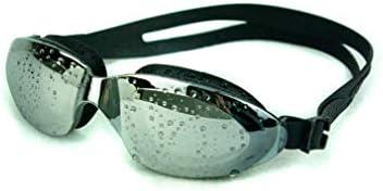 Waymeduo 防曇 漏れ防止 抗UV トライアスロンゴーグル、成人男性、女性、ティーンエイジャー、子供用の無料の保護カバー付き スイミングゴーグル、ミラーゴーグル Plating black