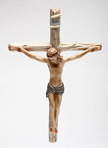 "Fine Porcelain Inspirational Jesus on Cross Crucifix INRI Cross Wall Decor Figurine, 8 1/2"" L"