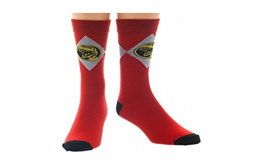Red Mighty Morphin Power Rangers Crew Socks (Mighty Morphin Power Rangers The Wanna Be Ranger)