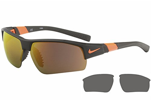 Nike Golf Show X2 XL R Sunglasses, Matte Deep Pewter/Total Orange/Shatter Frame, Grey with Ml Orange Flash