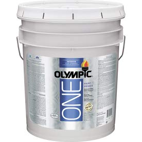 Olympic One White Latex Enamel Interior Paint and Primer in One Tintable 5 Gallons (Flat)