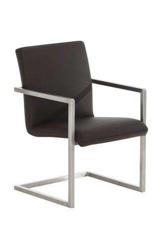 CLP Design Edelstahl Freischwinger Stuhl JAVA, Besucher Stuhl Mit Armlehne,  Gepolstert Braun