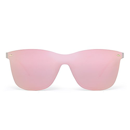 Rimless Mirrored Sunglasses One Piece Frameless Eyeglasses Men Women (Transparent/Polarized Pink) by JIM HALO