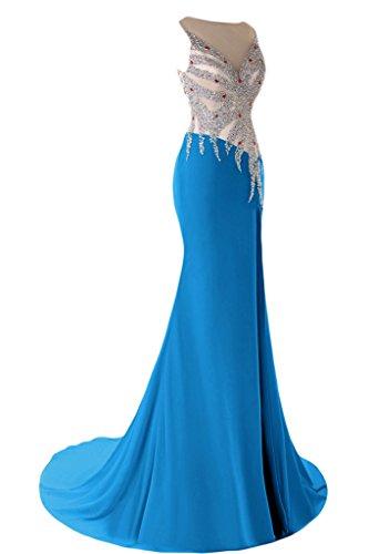 sunvary elegante sirena V-neckline Fiesta Fiesta De Vestido De Fiesta con bañador Azul