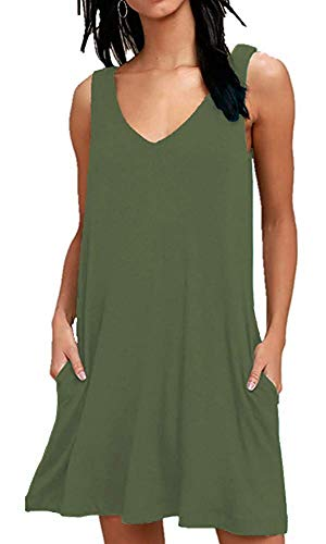 MISFAY Women's Summer Casual T Shirt Dresses Beach Cover up Plain Tank Dress with Pockets (M, Army Green) ()