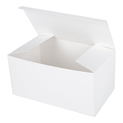LaRibbons 20Pcs White Cardboard Boxes/White Gift Boxes with Lids for Party, Wedding, Baby Shower Favors, 9''L x 4.5''W x 4.5''H by LaRibbons