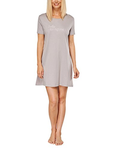 Schiesser Damen Nachthemd selected! premium Sleepshirt 1/2, 85cm, Gr. 38, Braun (taupe 310)