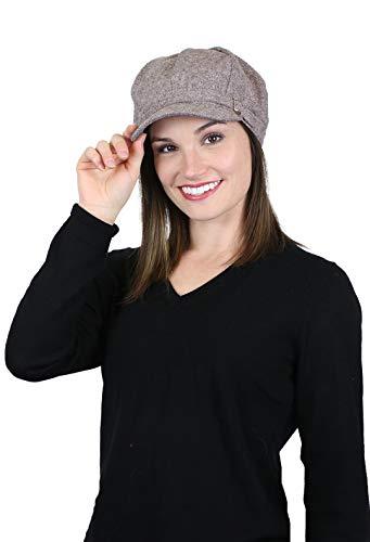 - Newsboy Cap for Women Cancer Headwear Chemo Hat Ladies Winter Head Coverings Tweed (Brown Tweed)