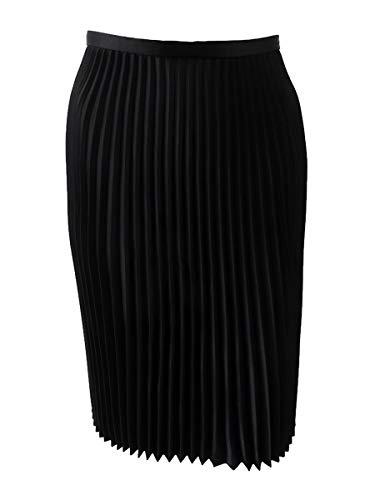LAUREN RALPH LAUREN Womens Colyn Satin Knee-Length Pleated Skirt Black -