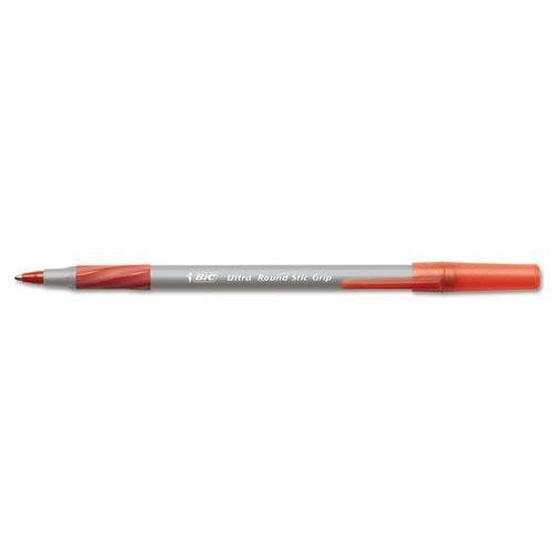 BIC America GSMG11RD Round Stic Grip Xtra Comfort Ballpoint Pen, Red Ink, Medium, Dozen