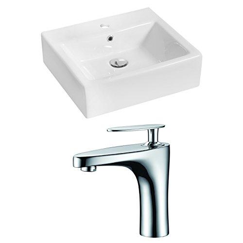 "Jade Bath JB-14932 20"" W x 18"" D Rectangle Vessel Set with Single Hole CUPC Faucet, White 85%OFF"