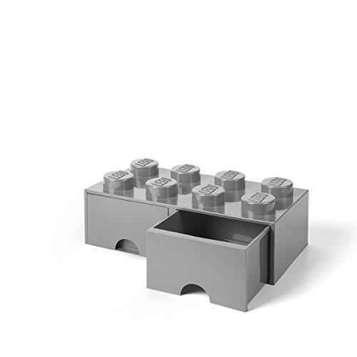 Lego Utensil - LEGO Brick Drawer, 8 Knobs, 2 Drawers, Stackable Storage Box, Medium Stone Grey