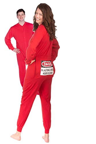 Red Union Suit Onesie Pajamas with Funny Butt Flap Danger Blasting Area (XL)