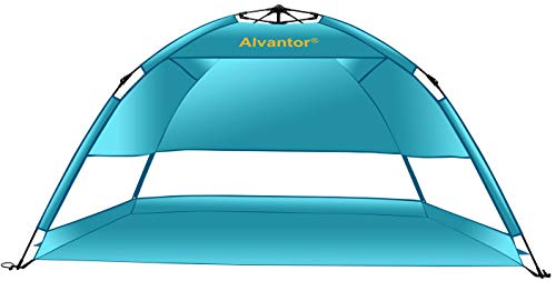 Alvantor Beach Tent Blueshore Beach Umbrella Outdoor Sun Shelter Cabana Automatic Pop Up UPF 50+ Sun Shade Portable Camping Fishing Hiking Canopy Easy Set Up Windproof (Patent Pending) 3 or 4 Person