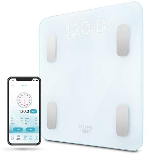 Digital Weight Scale SHARPER IMAGE Bathroom Bluetooth/Android & iOS App Compatible, Tracks Body Fat, BMI, Bodyweight for Health and Fitness Success, Saves up to 10 User Profiles for Accurate Tracking