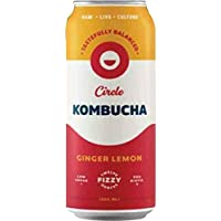 Circle Sparkling Kombucha, Choice of Four Flavors- Case Pack of 12/12 Fl Oz (355g) Cans (Ginger Lemon)