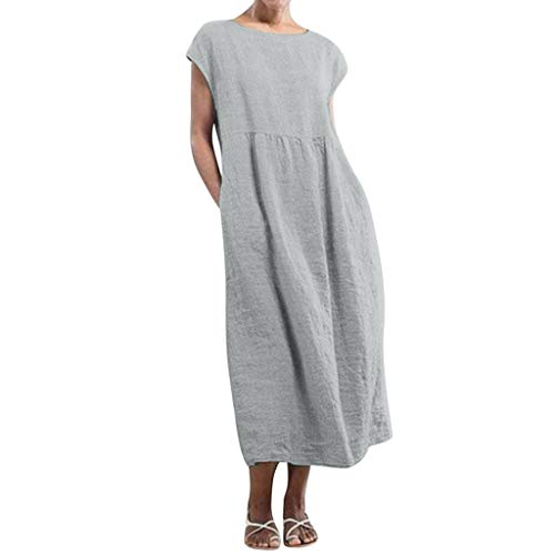 Women Linen Tunic Dress, Casual Sleeveless O-Neck Loose Baggy Kaftan Midi Dresses with Pockets (M, Gray) ()