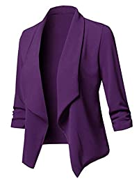 Lrady Women's Casual Open Front Shrug 3/4 Sleeve Lightweight Blazer Jacket Suit