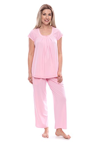 Texere Women's Pajamas in Bamboo Viscose (Bamboo Bliss, Carnation, XL) Top