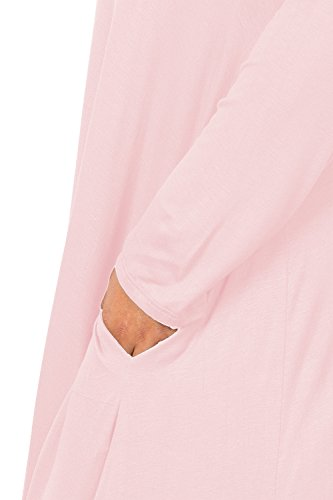 Love In D6190C-PX Long Sleeve Round Neck Flared Maxi Dress W/Pocket Blush 3X by Love In (Image #6)