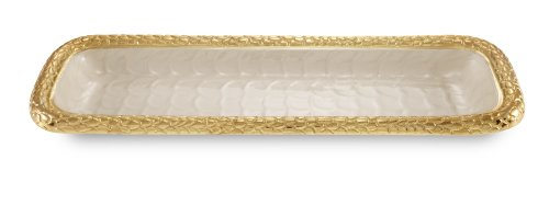 Yellow Rectangular Tray - Julia Knight Florentine Rectangular Tray, 16-Inch, Snow, Gold, White, Yellow