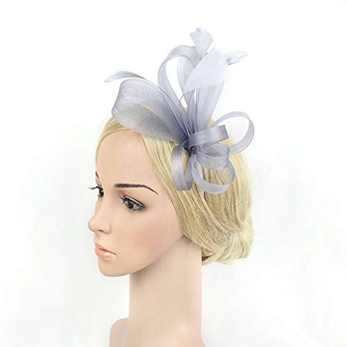 Amour Flutes - Lady Feather Fascinator Bow Veil Headband Weddings Cocktail Party Headpiece (Color - grey)