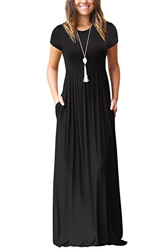 Longues avec Robe Manches t Casual Femmes S Poches Robes Dasbayla Courtes noir 8XxqI54