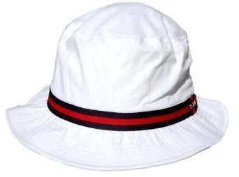 Dorfman Pacific Cotton Water Repellent Traditional Rain Bucket Hat, Small, White