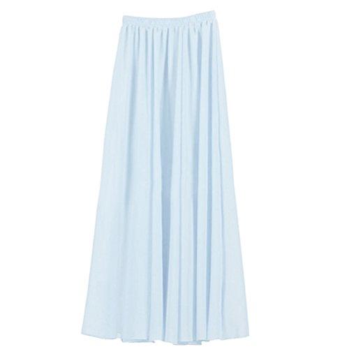 Ezcosplay Women's Double Layer Retro Chiffon Long Skirt Elastic Waist Boho Skirt Light Blue from Ezcosplay