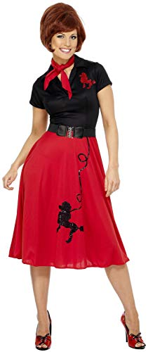 Smiffys Women's 50's Style Poodle Costume, Dress, Scarf and Belt, Rockin' 50's, Serious Fun, Medium , Red/Black ()