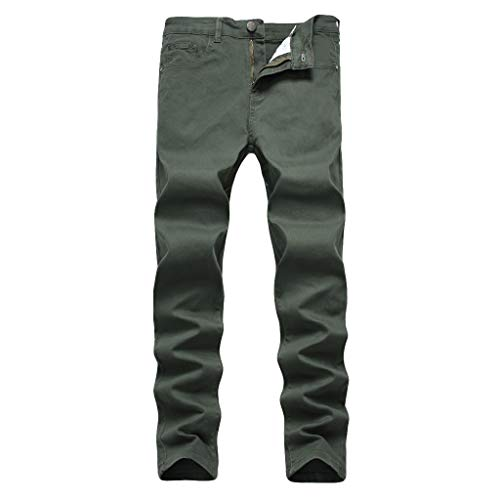 Washed Duck Lined Dungaree Flannel (NUWFOR Men's Fashion Slim Fit Personality Stretchy Casual Solid Jeans Denim Pants(Army Green,US:38 Waist:38.58