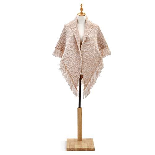 - Tan Women's Large Acrylic Knit Triangle Shawl Wrap