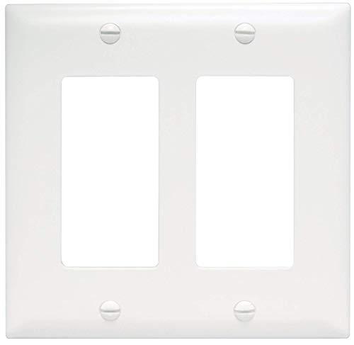 Legrand - Pass & Seymour TP262W Trade Master Wall Plate 2 Gang 2 Decorator, White, SMALL (10) ()