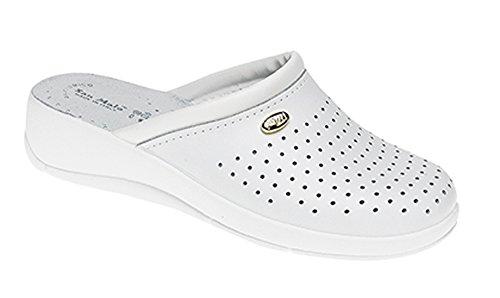 Ladies San Malo White Leather Padded Clog Mule Sizes 4 5 6 7 8 6JfFtv