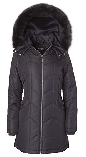 - Women's Long Down Alternative Puffer Coat Detachable Plush Lined Fur Trim Hood - Hematite (2X)