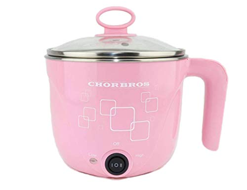 1L CHORBROS Electric Stainless steel pink Hot Pot with Egg Cooker 600W,Travel Pot,Personal pot,Cute Pot,Instant Noodles Pot,电火锅,学生锅 (Hello Kitty Rice Cooker)