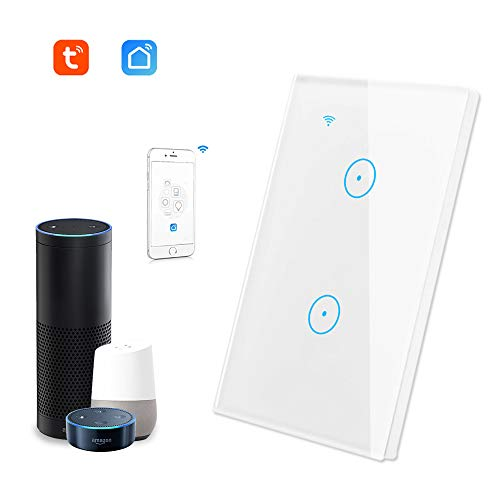 Smart Wall Switch Glass Touch Panel Wireless Remote Control by Mobile APP Anywhere, Timing Function, Works With Alexa, Google Home, IFTTT, No Hub Required (2 Switches in 1 Gang)