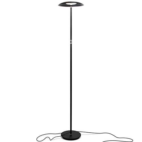 Brightech Sky Downlight - LED Reading Floor Lamp for Offices - Dimmable Craft & Hobby Light- Modern Tall Standing Pole Light for Living Room, Bedroom - Jet Black