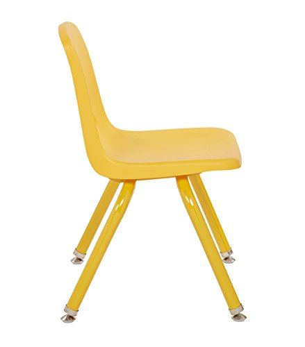 ECR4Kids 12'' School Stack Chair with Powder Coated Legs and Nylon Swivel Glides, Yellow (6-Pack) by ECR4Kids (Image #2)'