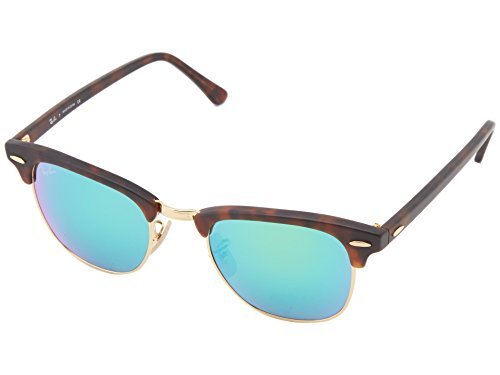 Ray-Ban RB3016 Clubmaster Square Sunglasses, Tortoise & Gold/Green Flash, 49 ()