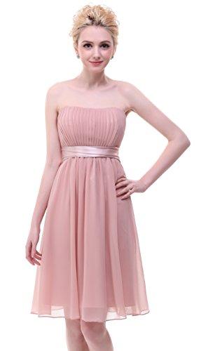 BISLU Blush Chiffon Sweetheart Short Bridesmaid Party Dress Prom rnqrpwCdxg