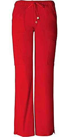 HeartSoul 20130 Women's Charmed Low-Rise Cargo Pant Red Large Petite - Surf Scrubs
