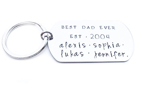 Best DAD ever – Hand Stamped Keychain – Custom Dog Tag – Dad Keychain – Fathers Day Gift