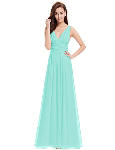 Ever-Pretty Elegant V-Neck Long Chiffon Crystal Maxi Evening Dress 16 US Sky Blue