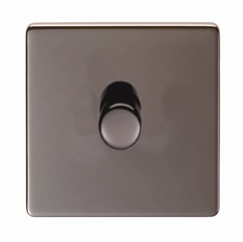 Eurolite, Screwless, Flat Plate, Black Nickel, 1 Gang 2 Way, Single Dimmer Light Switch With Matching Knob by Eurolite