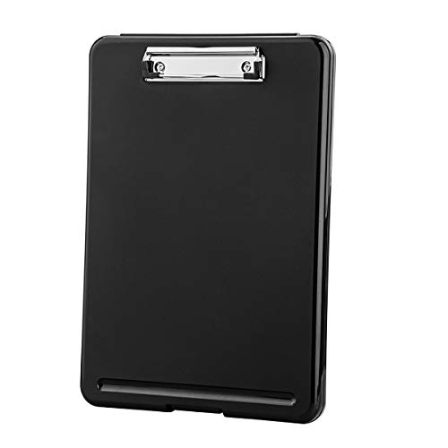 ZCZN Plastic A4 Form Storage Box Case, Clipboard Case, Suitable for School,Utility,Industrial Office, Medical Personnel,Black ()